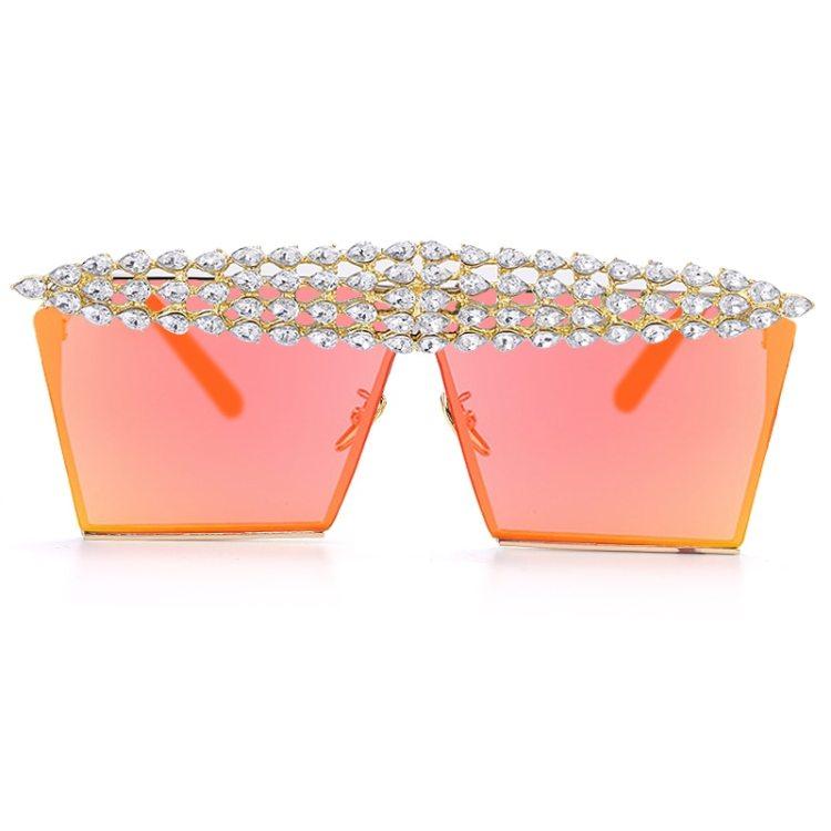 luxury fashion diamond rhinestones square sunglasses for women 2021 trendy fashion products sunglasses in light pink orange color