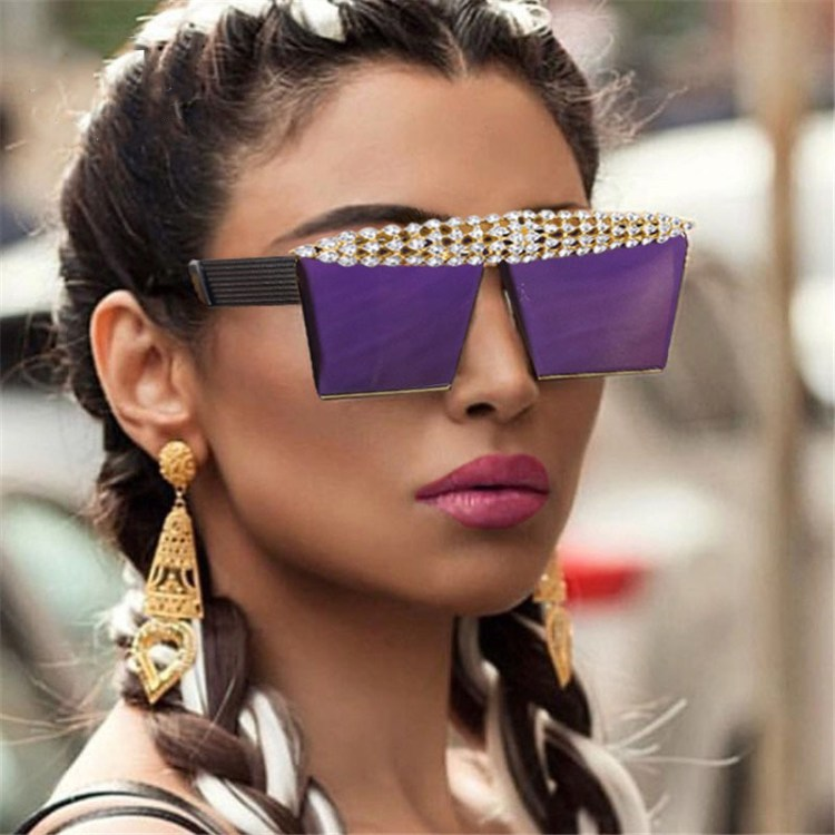 sunglasses for women in trendy fashion purple violet colors with iced out sparkling crystal inlaid diamonds