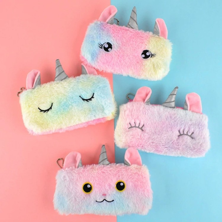 cute unicorn plush pencil case