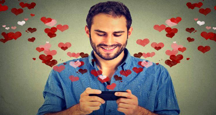 man texting lover on phone