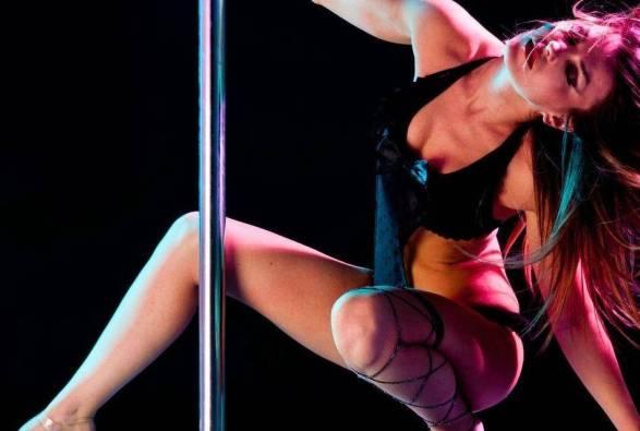 girl doing seductive moves on a dancing pole