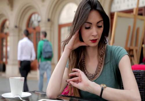 lady looking at watch