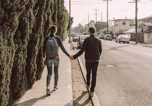 couple walking on the road