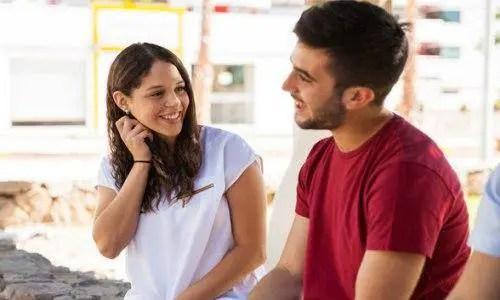cute couple talking