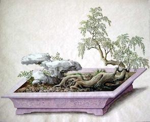 Miniature landscape from Gothaer Penjing Album, Canton, c.1800