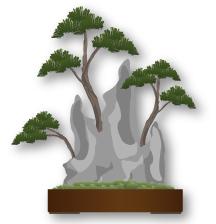 Ishisuki estilo bonsai, enraizada en la roca
