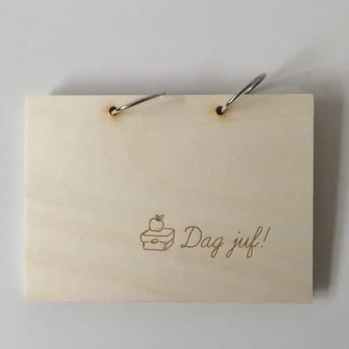 houten dag juf boek met invulkaarten