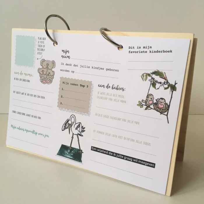 houten kraamboek invulkaarten houten herinnerboek