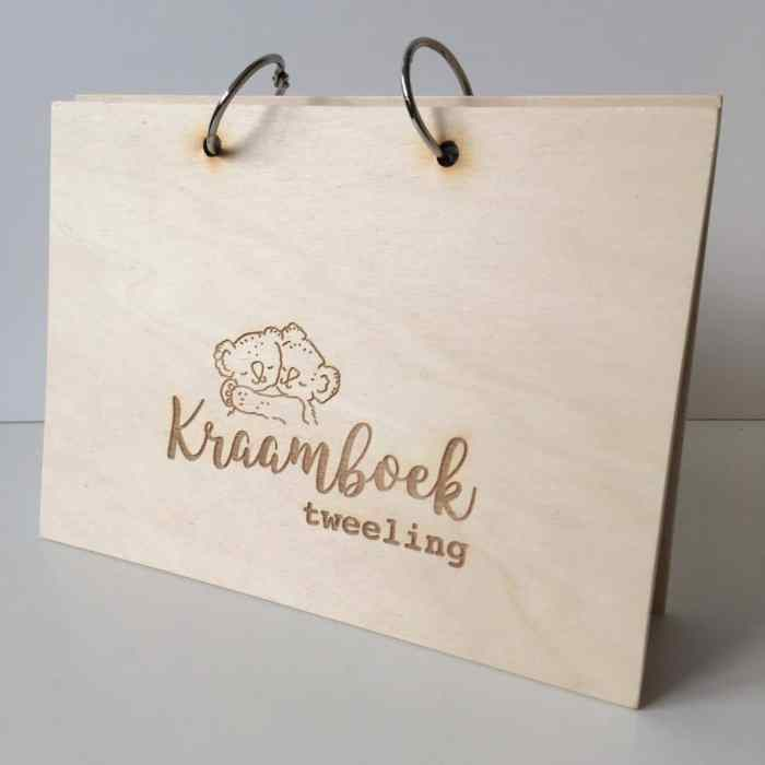 houten kraamboek tweeling