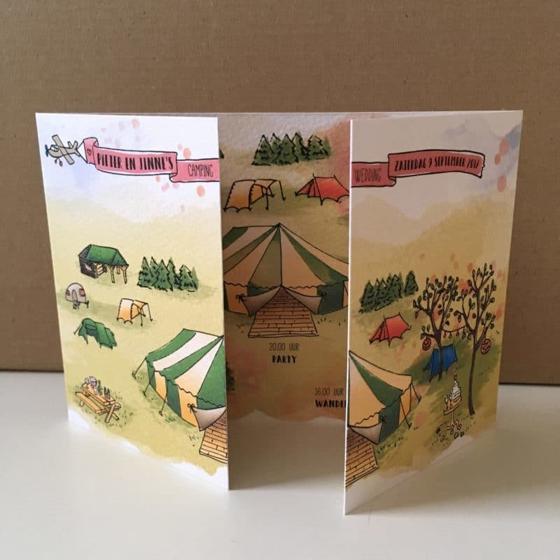 illustratie trouwkaart festival camping