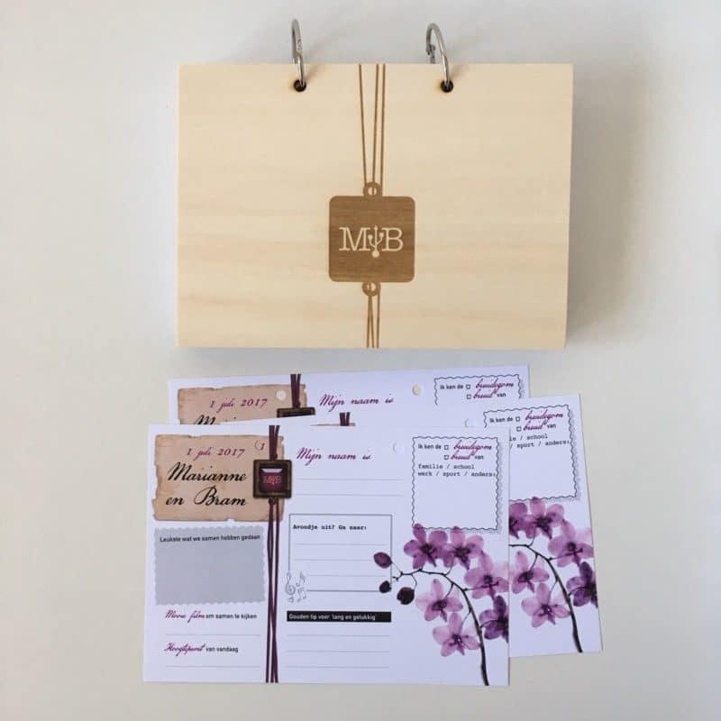 Uniek gastenboek houten kaft met invulkaarten