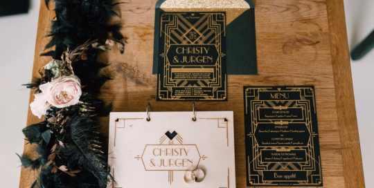 Great Gatsby wedding uitnodiging, gastenboek en menu