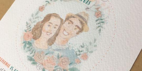 illustratie portret bruidspaar trouwkaart