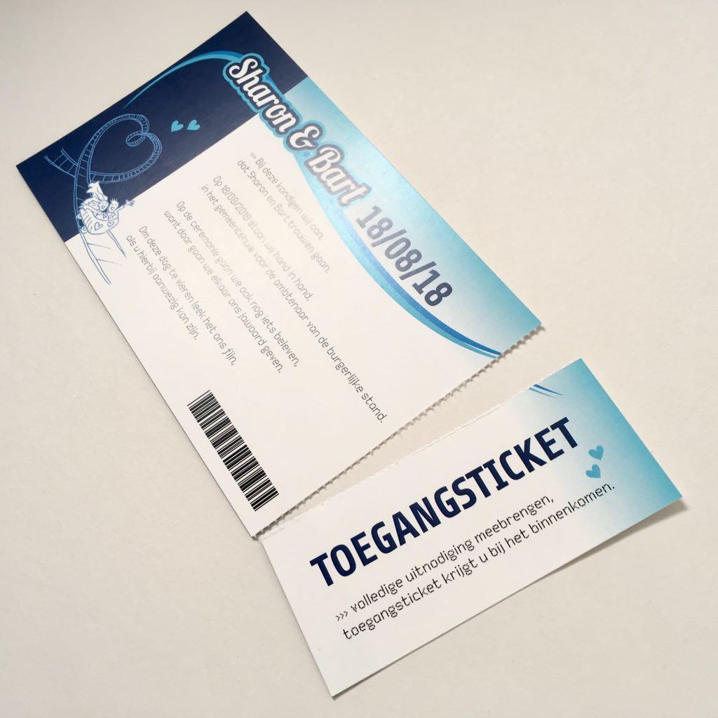 trouwkaart pretparkticket toegangsticket afscheurstrook ticket uitnodiging