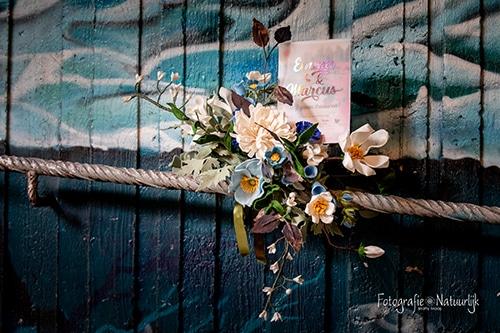 Trouwkaart viltbloemen
