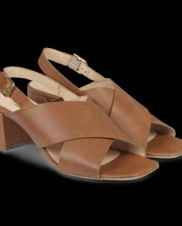 Sandal with block heel leather tan Angulus