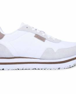 Nora II plateau leather/textile bright white Woden