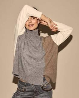 Layla rollneck knit grey melange Mos Mosh