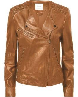 Biker jacket leather chestnut Summum Woman