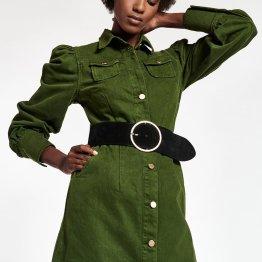 Whispera buttoned dress palace green Essentiel