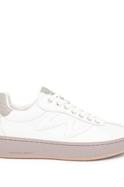 Astrid leather white/bark Woden
