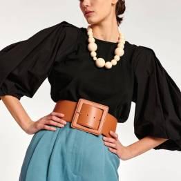 Ageant leather big belt dromedaris Essentiel
