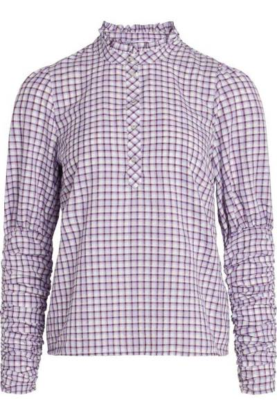 Sandy dobby check shirt purple Co'Couture