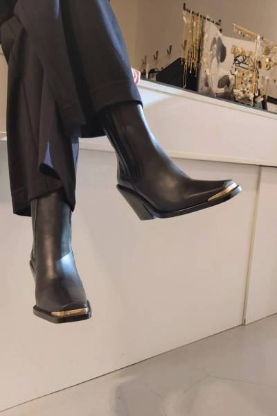 """Black kaiser boots Ca""""Shott Gold"""