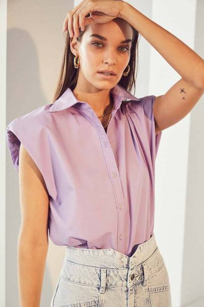 Yates boxy shoulder shirt purple Co'Couture