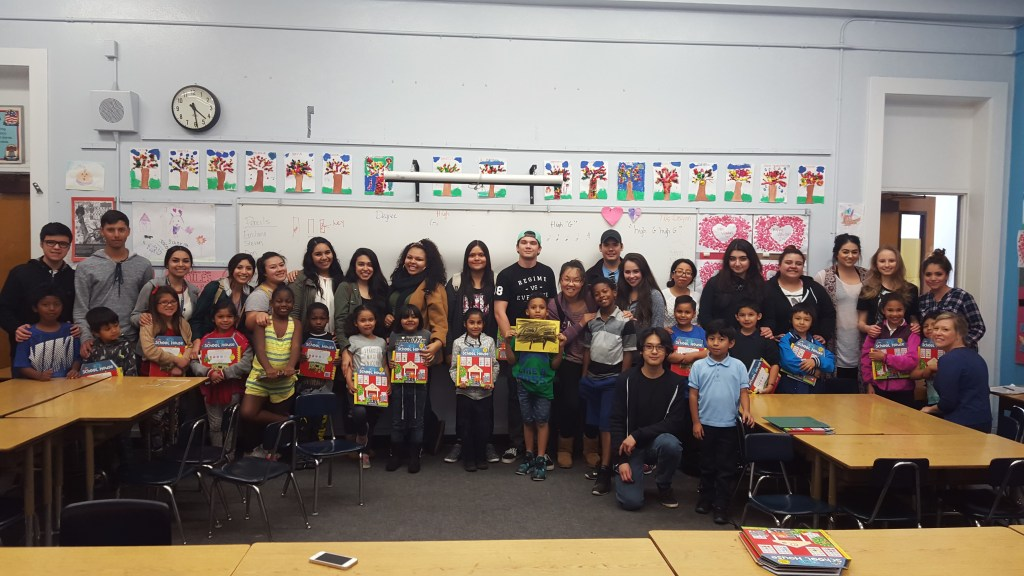 My students and I volunteering at a Los Angeles elementary school