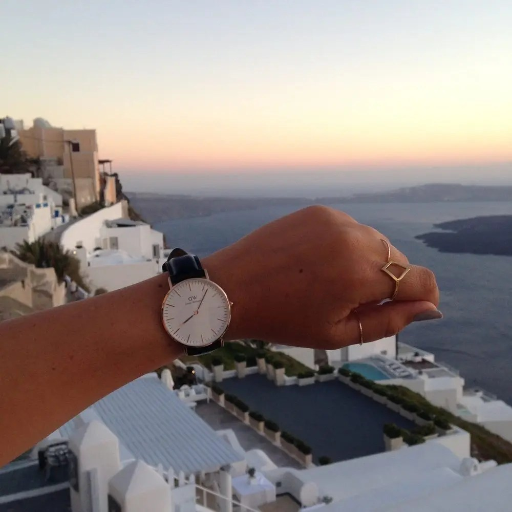 Arriving in Santorini, Greece in time for the sunset