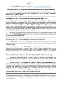 25-26-27 Novembre 2018 Comunicato Stampa - Giornata Mondiale contro la Violenza sulle Donne-001 2