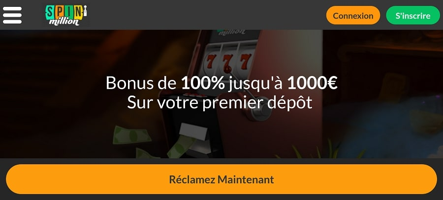 casino spinmillion bonus de bienvenue retrait rapide