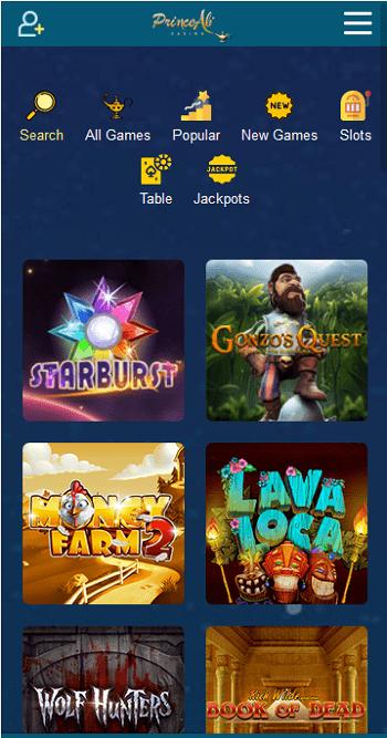 Casino Prince Ali sur smartphone, bonus gratuit sans depot casino fiable en ligne