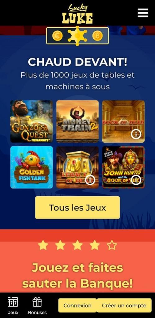 Casino Lucky Luke jouer sur smartphone, casino en ligne fiable en france
