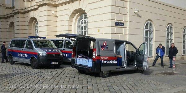 Die FPÖ-Gewerkschaft sorgt bei der rechtsextremen Kundgebung in Wien für die Versorgung der Polizei.