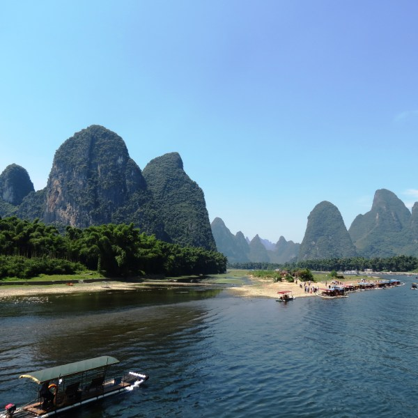 Yangshuo and the Li River cruise : karsts as seen on China 20-yuan bill!