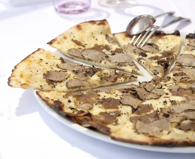 White Pizza with White Alba Truffles at African Queen restaurant