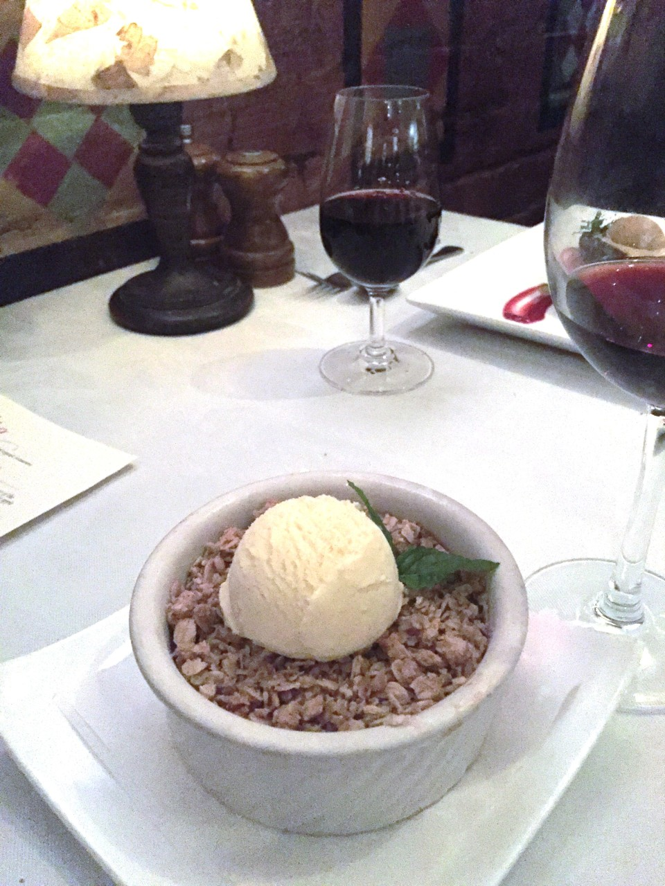 Rhubarb Strawberry Crisp with Vanilla Ice Cream