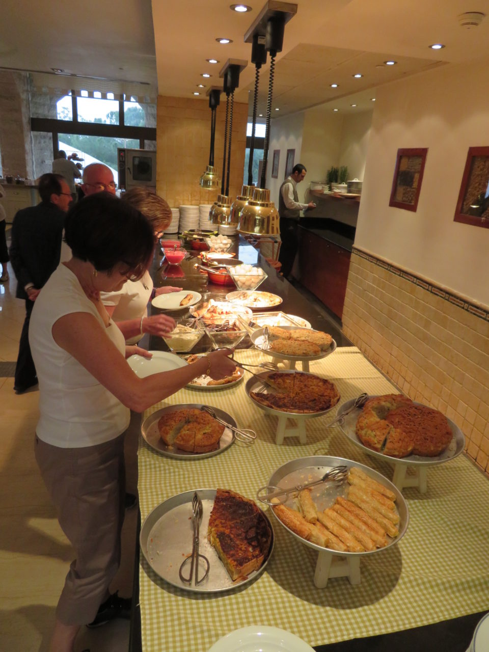 Israeli Breakfast : Lynn selecting her dessert !
