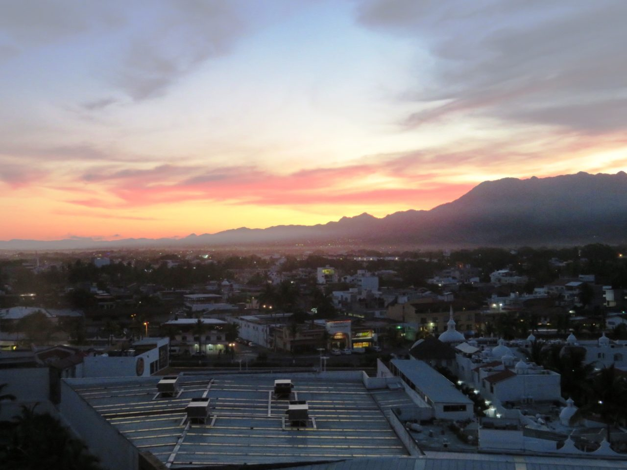 Sun rising behind the Sierra Madre Mountains