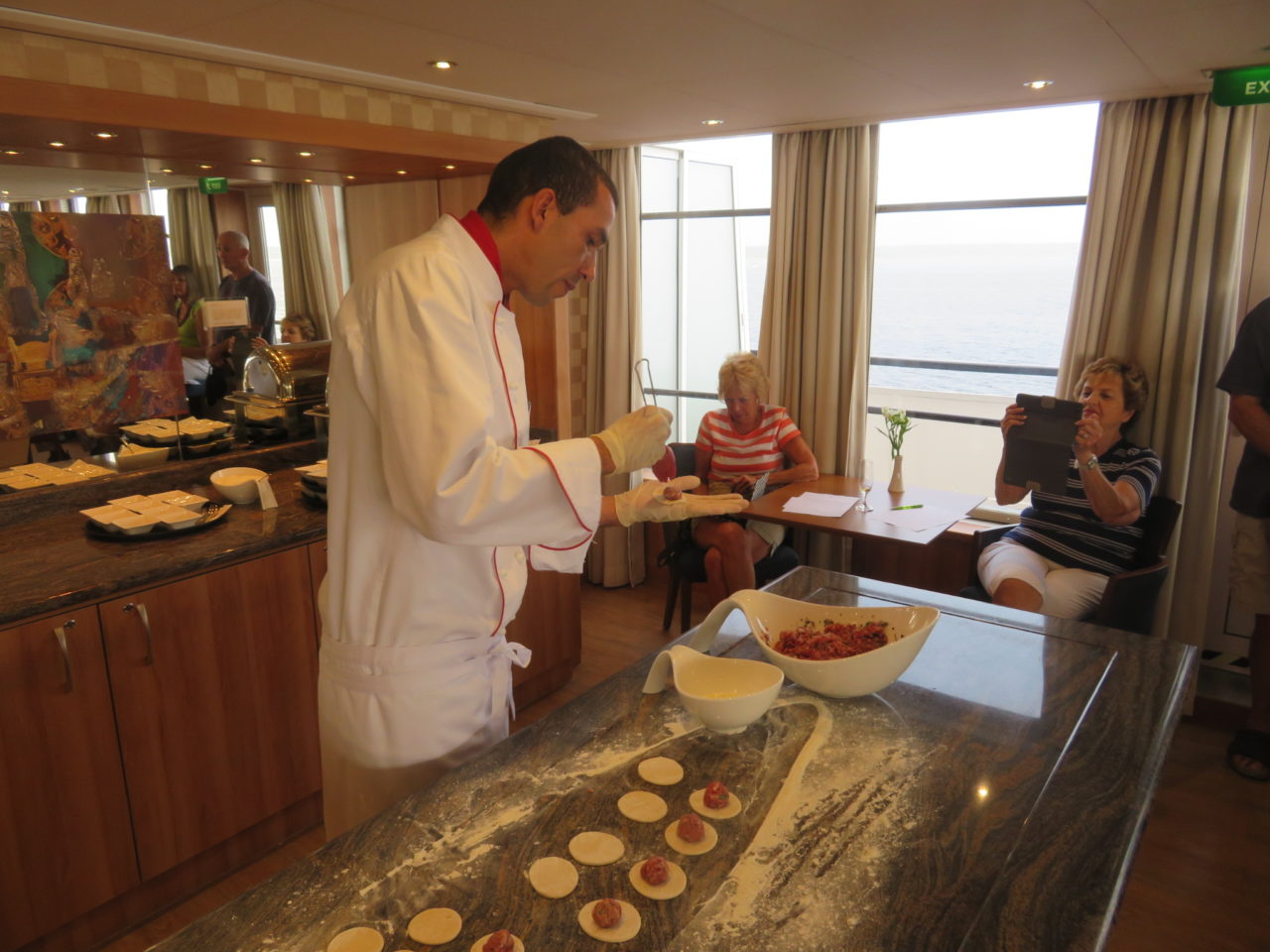 Russian Pelmeni cooking lesson by Executive Chef Danilo aboard the Viking Akun river cruise ship while cruising the Volga River