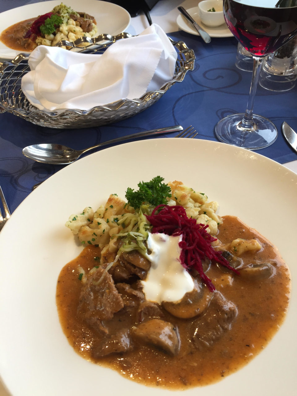 Beef Stroganoff, one of the many Russian specialties served onboard the Viking Akun river cruise ship in Russia