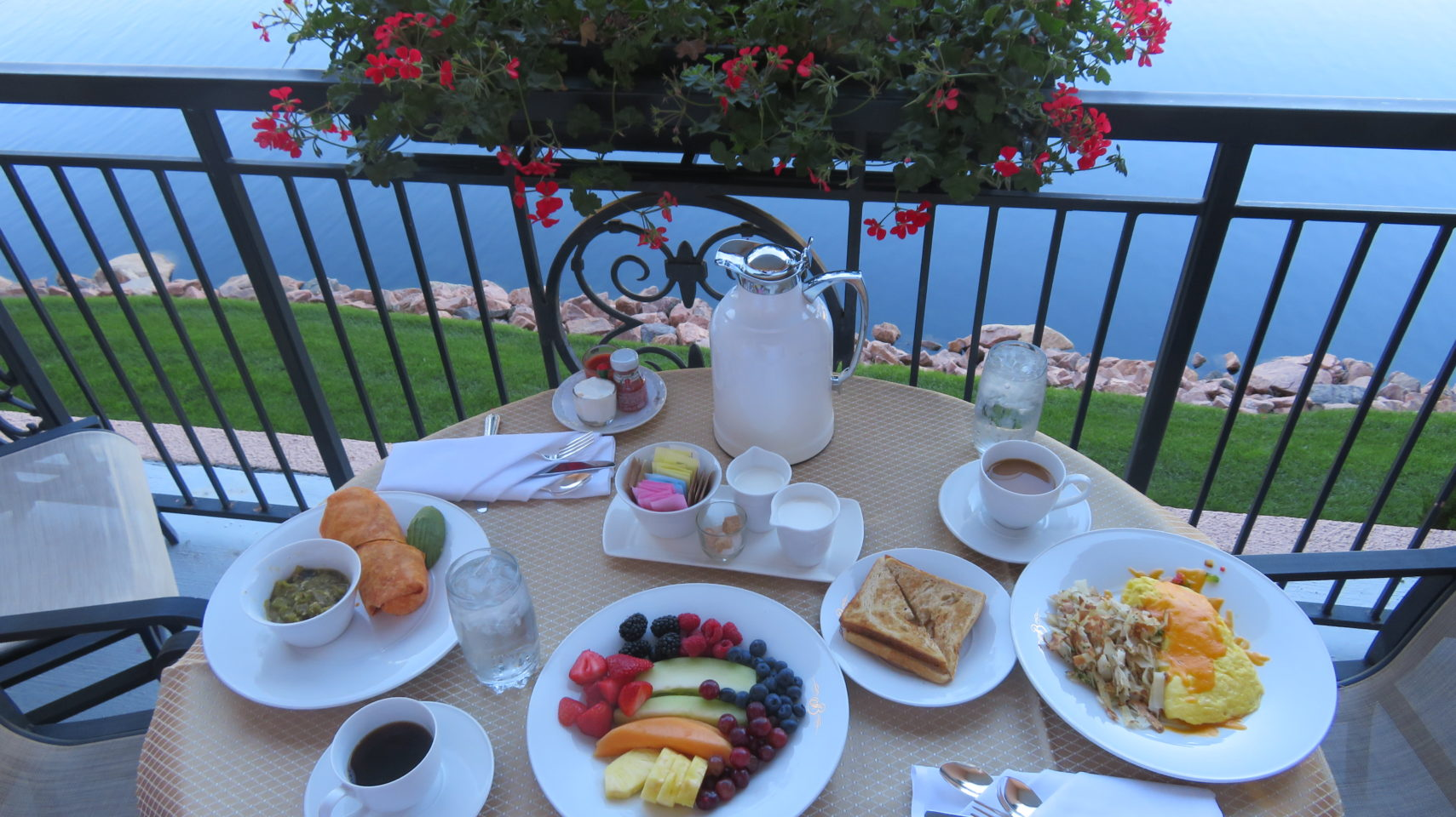 The Broadmoor Restaurants ~ Breakfast on our room balcony compliments of Room Service