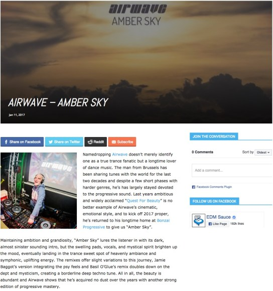 EDMSAUCE REVIEWS AIRWAVE – AMBER SKY
