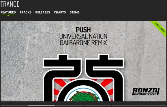 PUSH – UNIVERSAL NATION – GAI BARONE REMIX FEATURED BY BEATPORT
