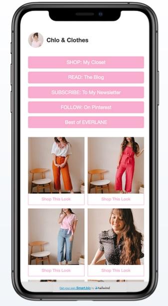 Smartbio via tailwind is een goede app om een klikbare link te maken.