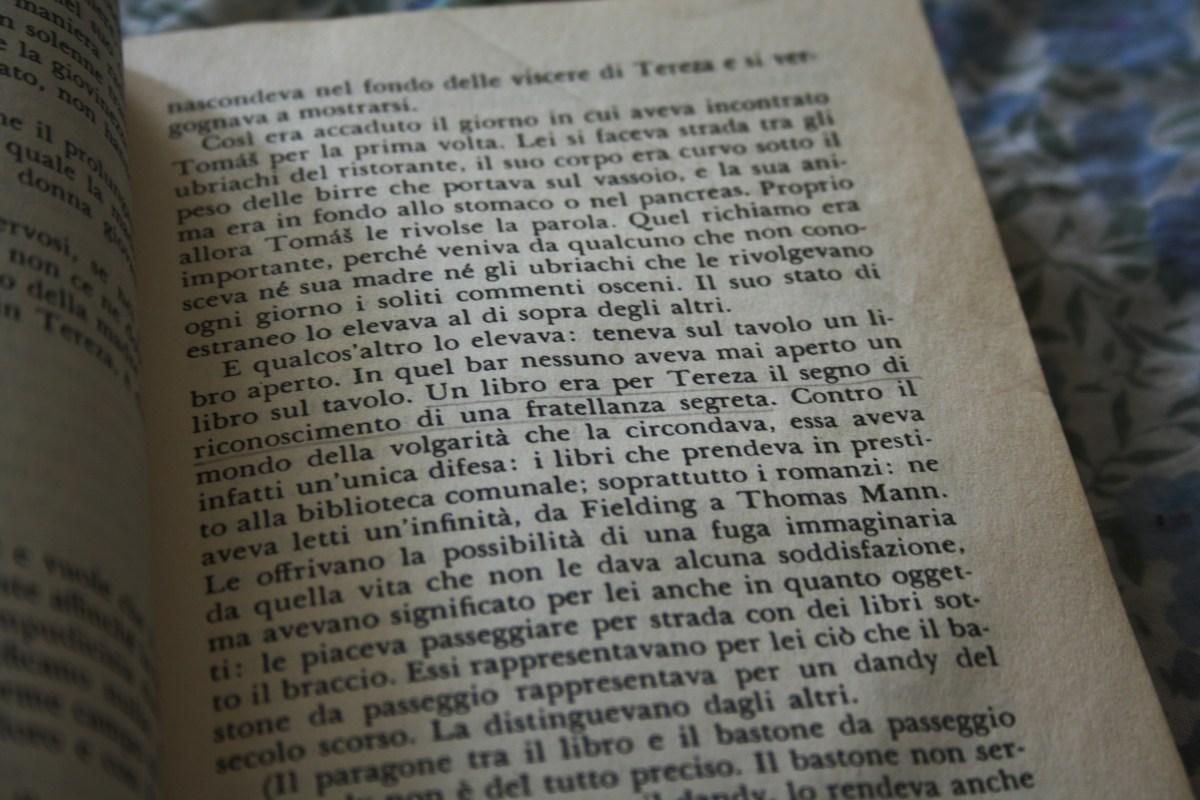 """""""Un libro era per Tereza il segno di riconoscimento di una fratellanza segreta."""""""