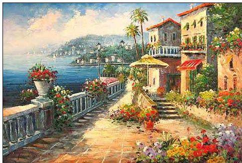 Mediterranean Oil PaintingMediterranean Vista Riviera