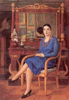 Ilya Mashkov Portrait of Z D R Lady in Blue